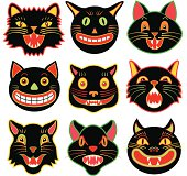 Halloween cat heads