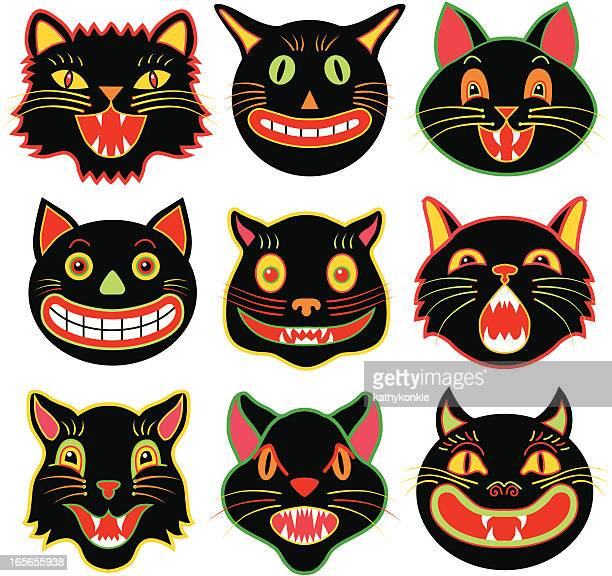 Halloween cat heads