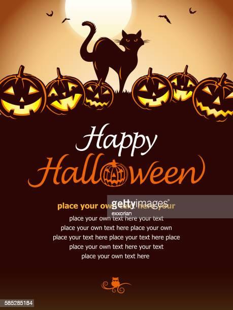illustrations, cliparts, dessins animés et icônes de halloween cat & pumpkin - chat noir
