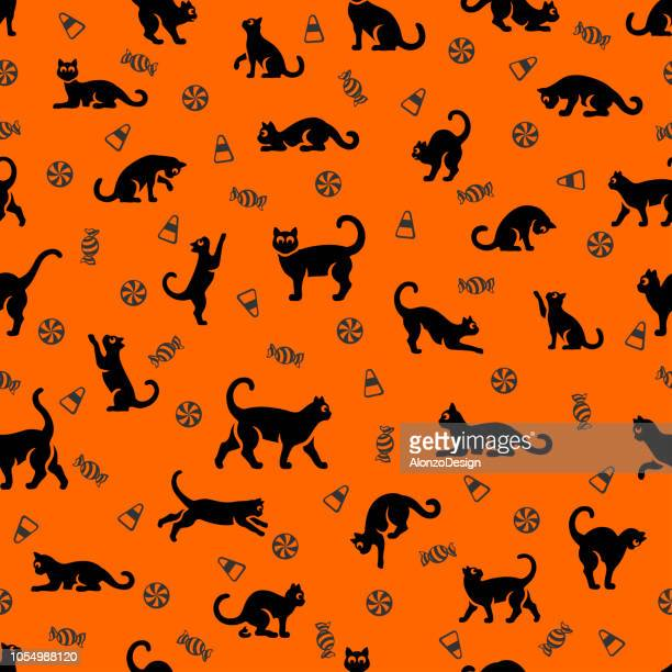 illustrations, cliparts, dessins animés et icônes de halloween chat seamless pattern - chat humour