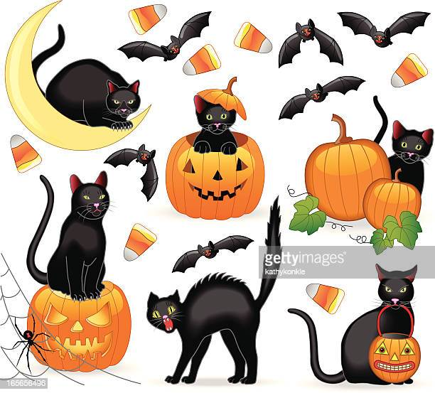 halloween cats - dipping stock illustrations, clip art, cartoons, & icons
