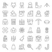 Halloween character and spooky things, outline icon editable stroke