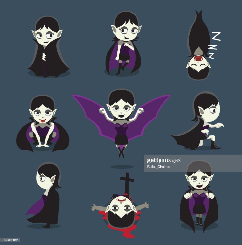 Halloween Character Big Head Poses Vampire Girl