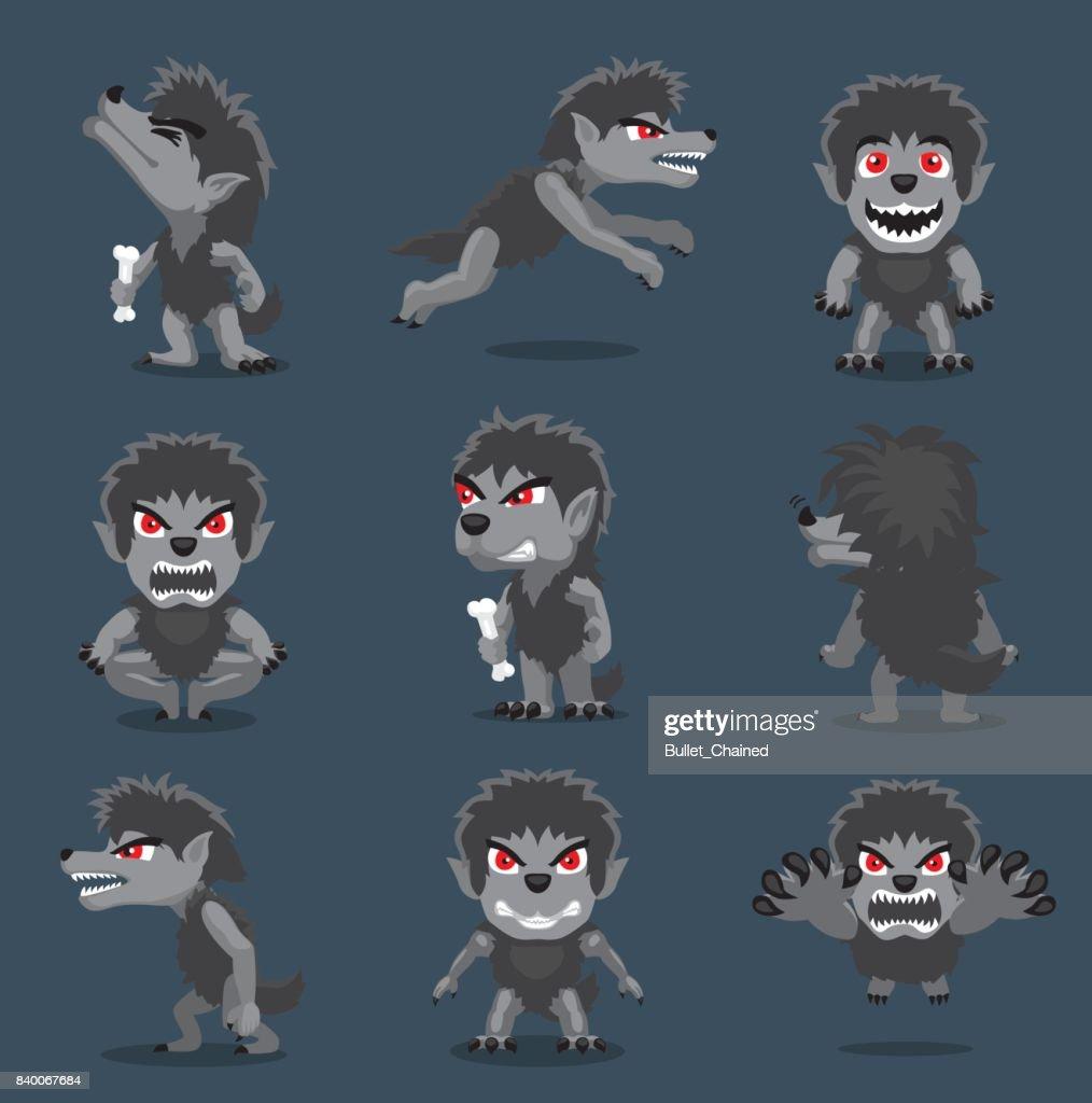 Halloween Character Big Head Poses Werewolf