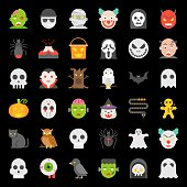 Halloween character icon set in flat design