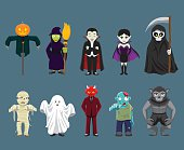 Halloween Characters Cartoon Vector Illustration