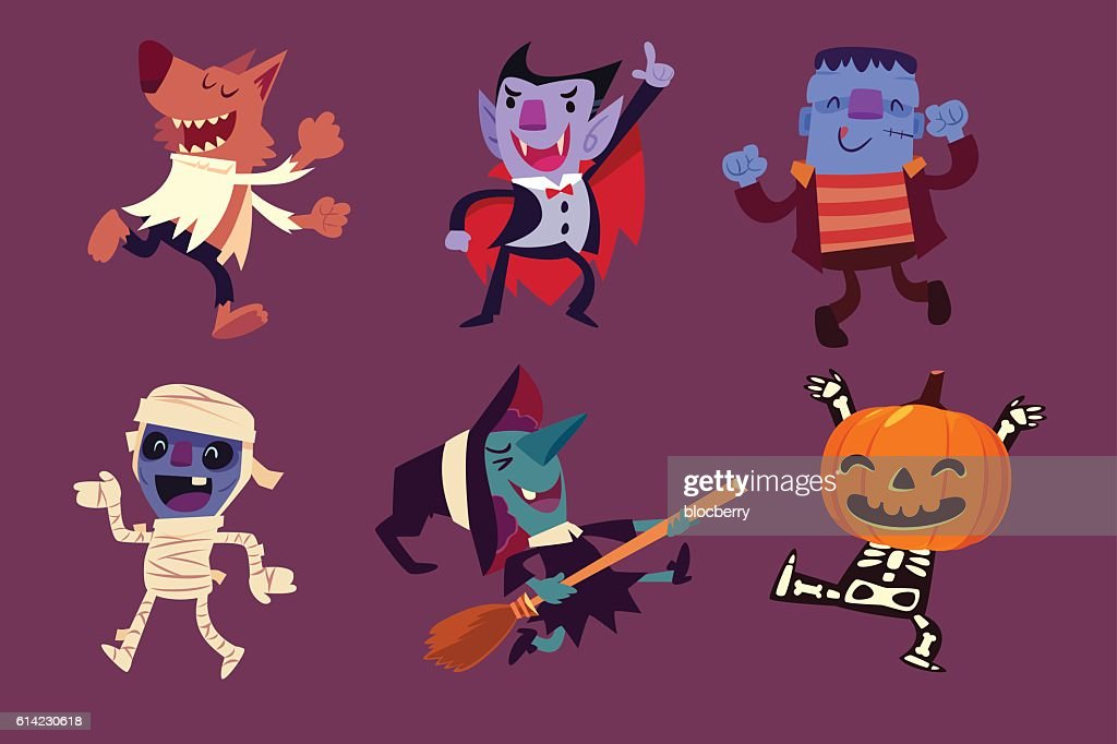 Halloween characters dancing in party