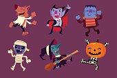 Halloween characters dancing in party