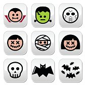 Halloween characters - Dracula, monster, mummy buttons