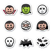 Halloween characters - Dracula, monster, mummy icons