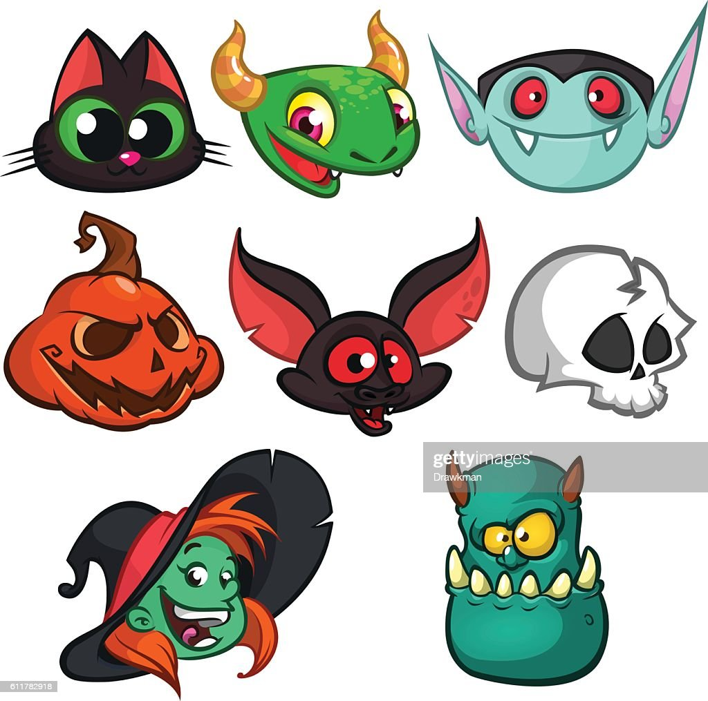 Halloween characters faces set. Vector cartoon