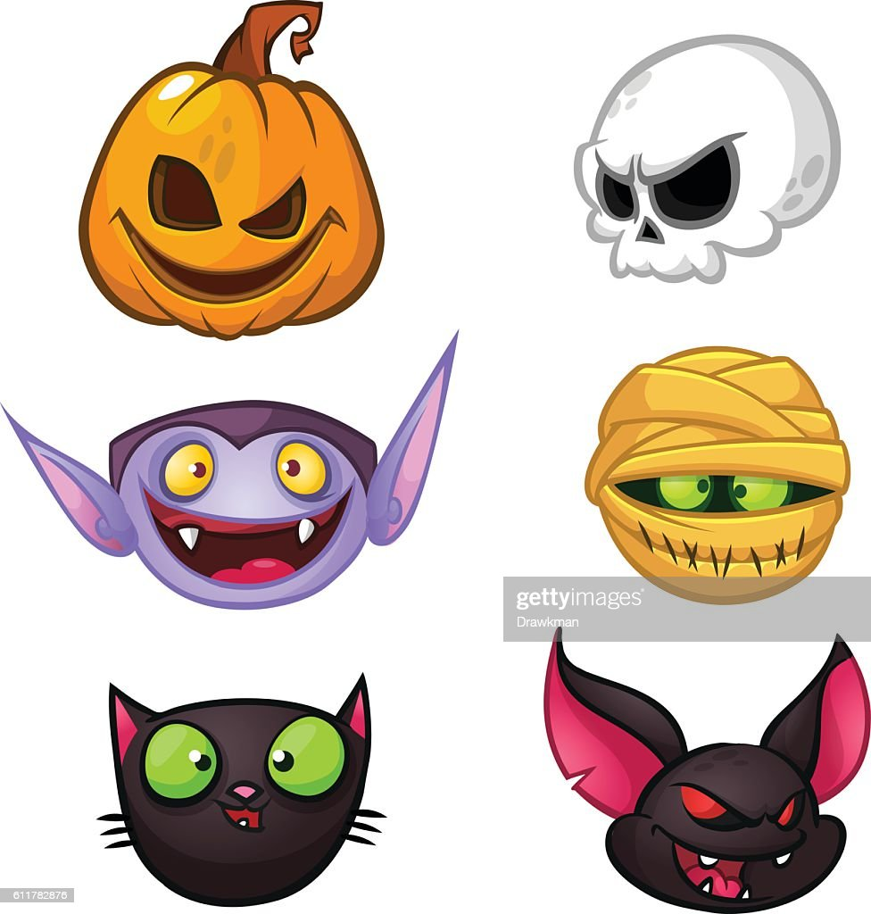 Halloween characters icon set. Cartoon vector icons