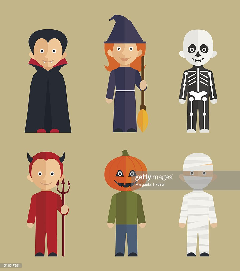 Halloween children characters / flat icons set