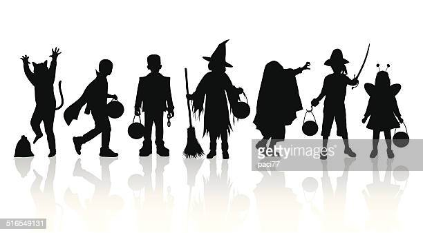 Halloween Trick Or Treat Silhouette.60 Top Trick Or Treat Stock Illustrations Clip Art
