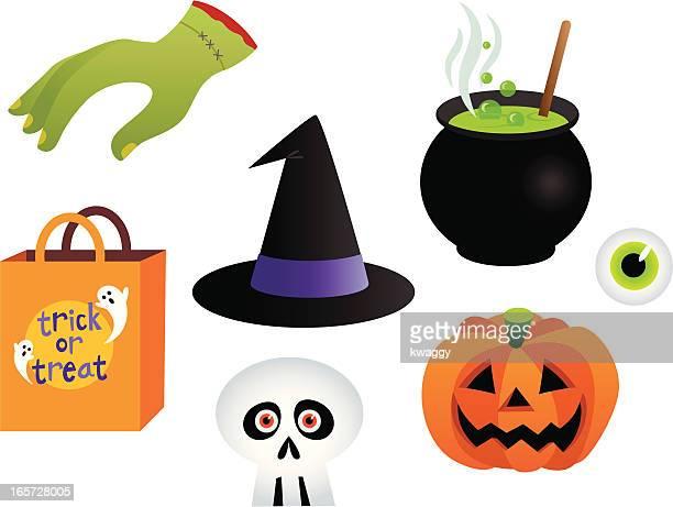 halloween collection - cauldron stock illustrations, clip art, cartoons, & icons