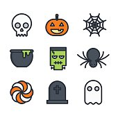 Halloween colorful line icon set flat design