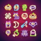 Halloween Colorful Neon Icons