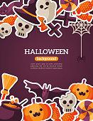 Halloween Concept Banner. Flat Icon Set on Dark Violet Backdrop.