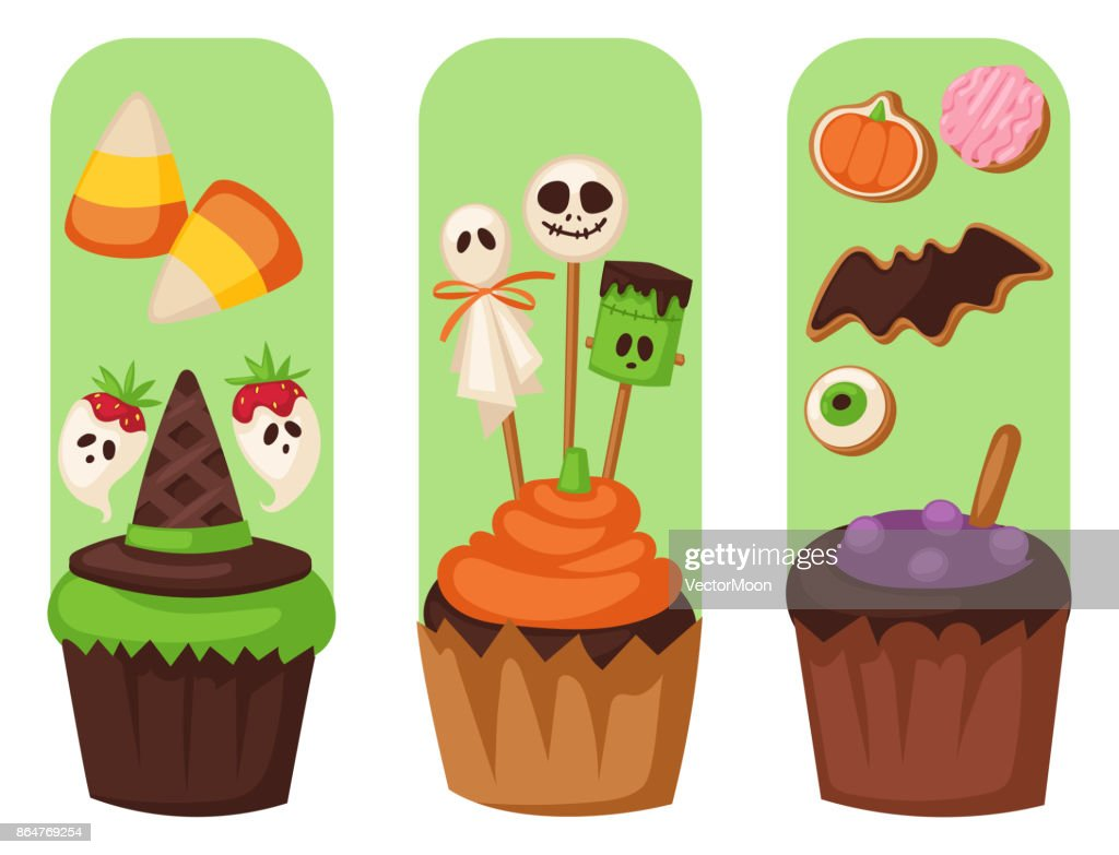 Halloween cookie food cards night cake party flayer trick or treat candies vector illustration