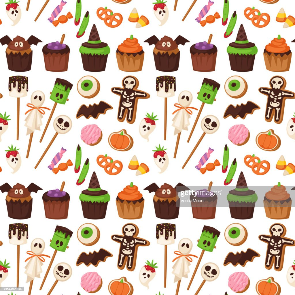 Halloween cookie seamless pattern background food night cake party trick or treat candies vector illustration