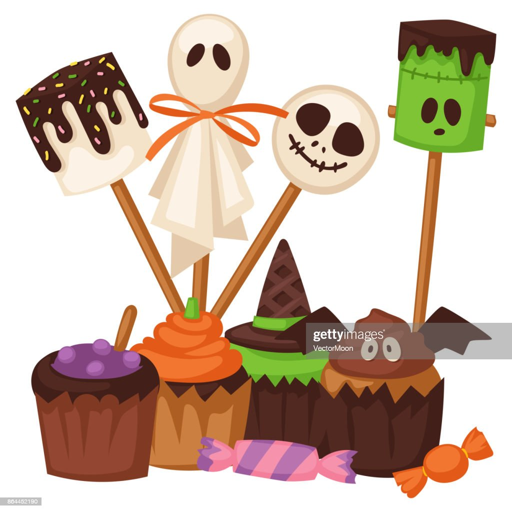 Halloween cookie symbols of food night cake party trick or treat candies vector illustration