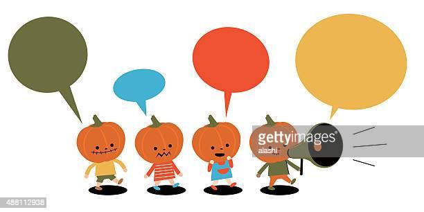 Halloween costume ball, group of Multi Ethnic Pumpkin Children, Megaphone