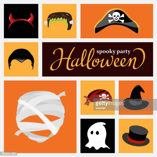 halloween costume hat - period costume stock illustrations