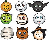 Halloween costume icons cartoon