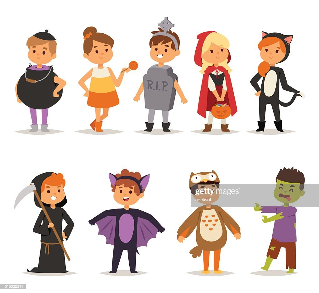 Halloween costume kids vector.