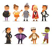 Halloween costume kids vector.