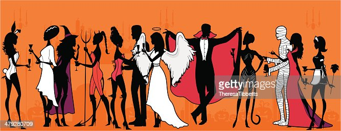 Halloween Costume Party Vector Art | Getty Images