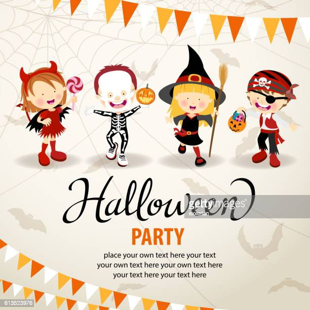halloween costume party - traditional clothing stock illustrations