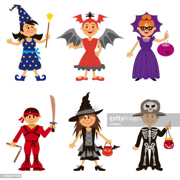 halloween costumes for cute cartoon kids - school carnival stock illustrations, clip art, cartoons, & icons