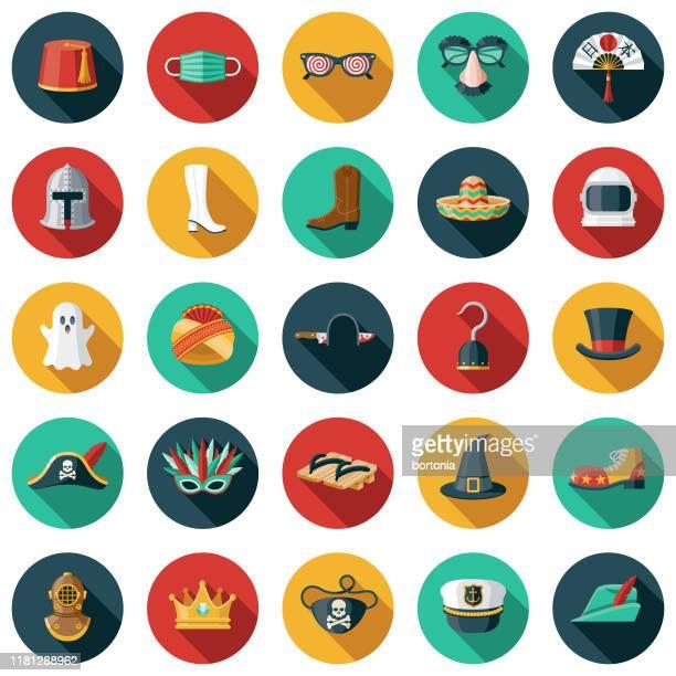 halloween costumes icon set - scaredastronaut stock illustrations