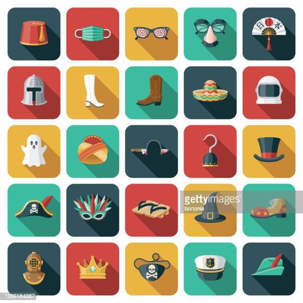 halloween costumes icon set - sombrero stock illustrations