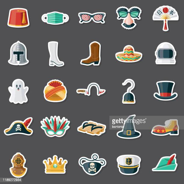 halloween costumes sticker set - sombrero stock illustrations