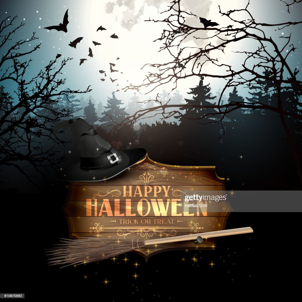 Halloween Creepy Forest Stock Illustration - Getty Images