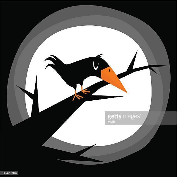 illustrations, cliparts, dessins animés et icônes de halloween crow - un seul animal