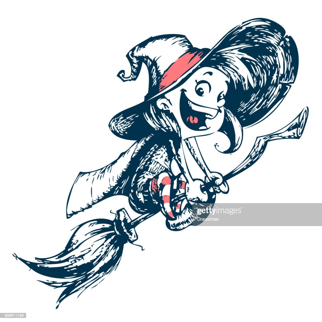 halloween cute witch flying on her broom outlines vector