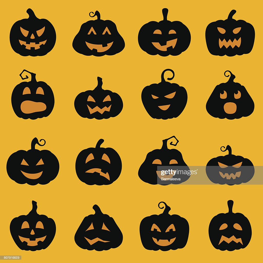 Halloween decoration Jack-o-Lantern silhouette set