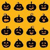 Halloween decoration Jack-o-Lantern silhouette set