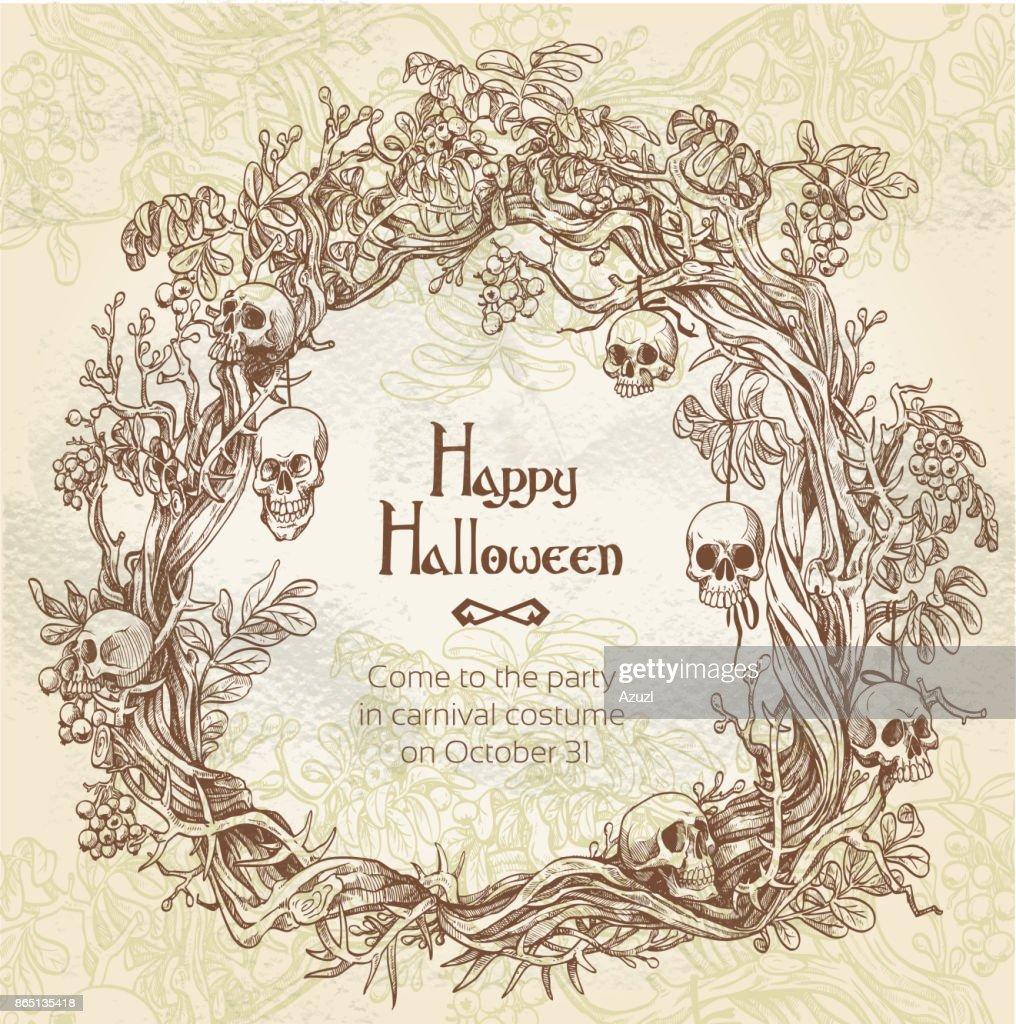 Halloween decorative wreath - frame for an grunge vintage invita