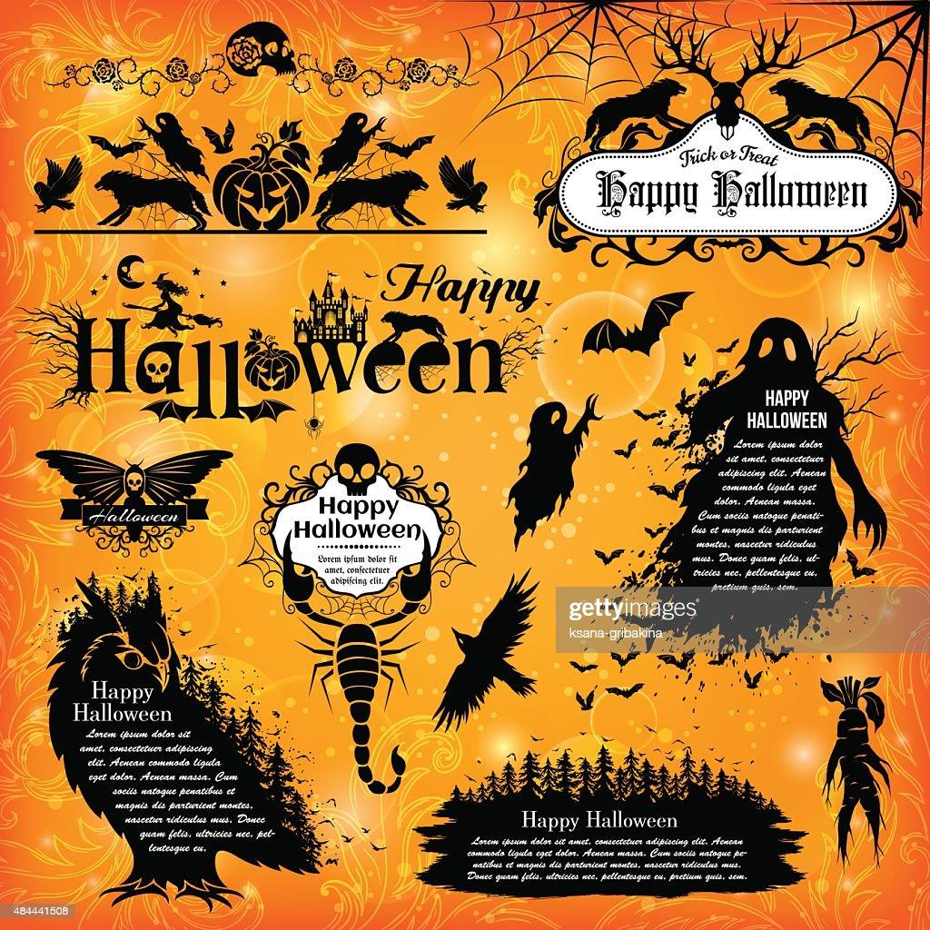 Halloween design elements.