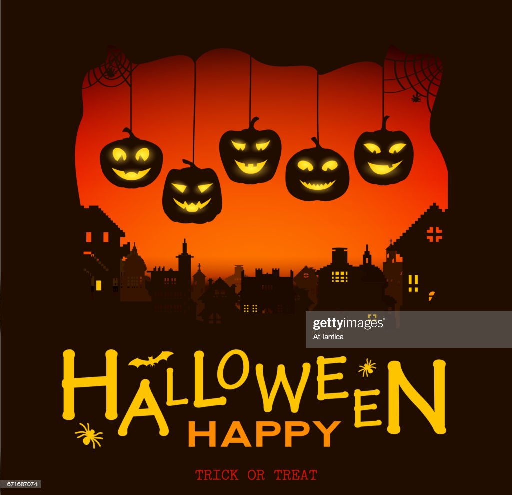 Halloween design pumpkins and houses. Horror background with holiday text