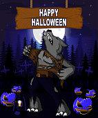 Halloween Design template with werewolf.