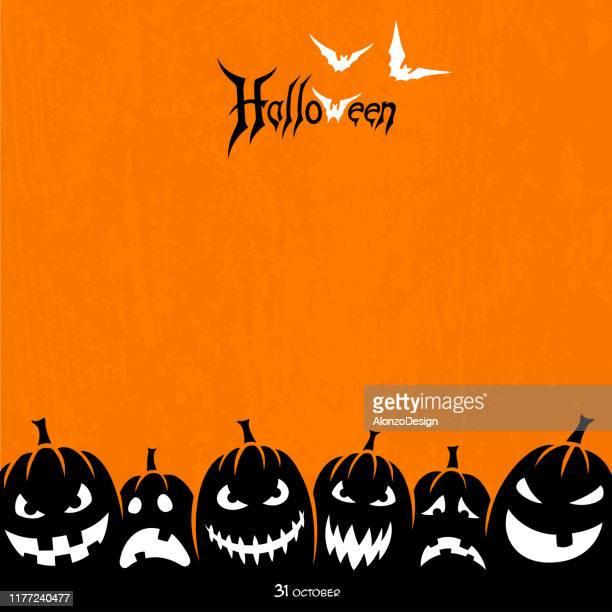 halloween design with pumpkins - halloween wallpaper stock illustrations