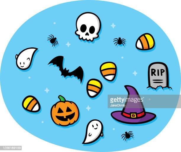 ilustrações, clipart, desenhos animados e ícones de halloween doodles - vegetais