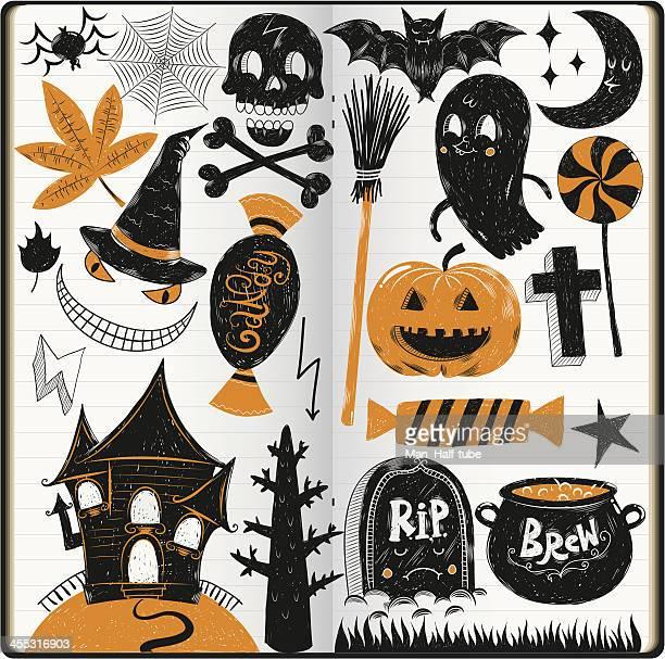 halloween doodles - broom stock illustrations, clip art, cartoons, & icons
