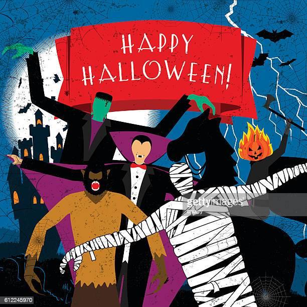 Halloween dracula vampire mummy frankenstein wolf horseman pumpkin monster vintage