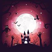 Halloween element design full moon background, copy space, vector illustration